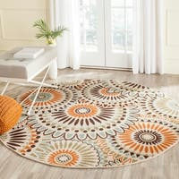 "Safavieh Indoor/ Outdoor Veranda Cream/ Chocolate Rug - 6'7"" x 6'7"" round"