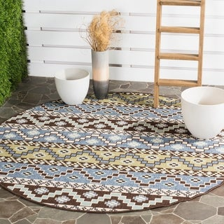 Safavieh Indoor/ Outdoor Veranda Blue/ Cream Rug (6'7 Round)