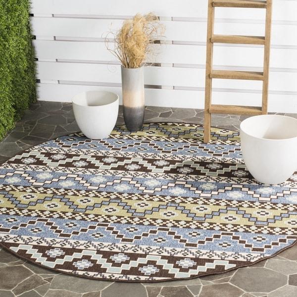 Safavieh Indoor/ Outdoor Veranda Blue/ Cream Rug (6'7 Round)