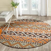 Safavieh Indoor/ Outdoor Veranda Terracotta/ Chocolate Rug - 6'7 Round