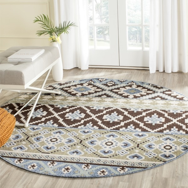 Round Outdoor Rugs For Patios: Safavieh Indoor/ Outdoor Veranda Chocolate/ Blue Rug