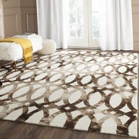 Safavieh Handmade Dip Dye Watercolor Vintage Ivory/ Chocolate Wool Rug - 7' Square