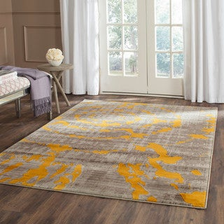 Safavieh Porcello Abstract Contemporary Light Grey/ Yellow Rug (6'7 Square)