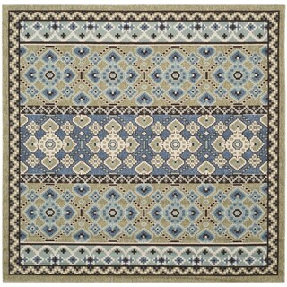Safavieh Indoor/ Outdoor Veranda Green/ Blue Rug (6'7 Square)