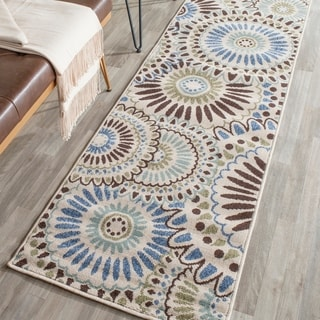 Safavieh Indoor/ Outdoor Veranda Cream/ Blue Rug (2'3 x 8')