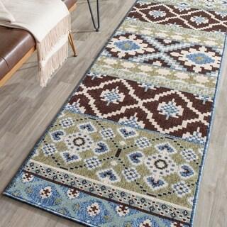 Safavieh Indoor/ Outdoor Veranda Chocolate/ Blue Rug (2'3 x 8')