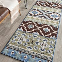 Safavieh Indoor/ Outdoor Veranda Chocolate/ Blue Rug - 2'3 x 8'