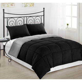 Ultra Soft and Cozy Black / Grey Reversible Hypoallergenic Alternative Down Comforter/ Duvet Insert Set