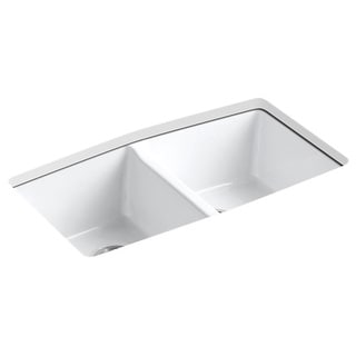 Kohler Brookfield Undermount Cast Iron 22x33x9.625 5-hole Double Bowl Kitchen Sink in White