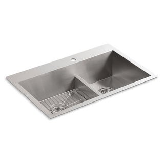 Kohler Vault Top Mount Stainless Steel 33x22x9-5/16 Double Bowl Kitchen Sink