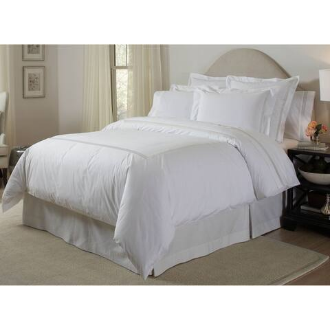 Pointehaven Long Staple Cotton Embroidered 3-piece Percale Duvet Set and Euro Sham Separates