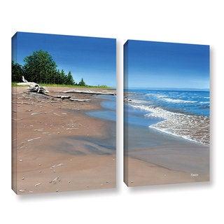 ArtWall Ken Kirsh 'Driftwood Beach' 2 Piece Gallery-wrapped Canvas Set