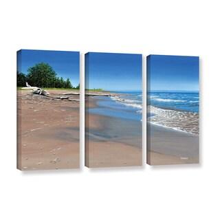 ArtWall Ken Kirsh 'Driftwood Beach' 3 Piece Gallery-wrapped Canvas Set