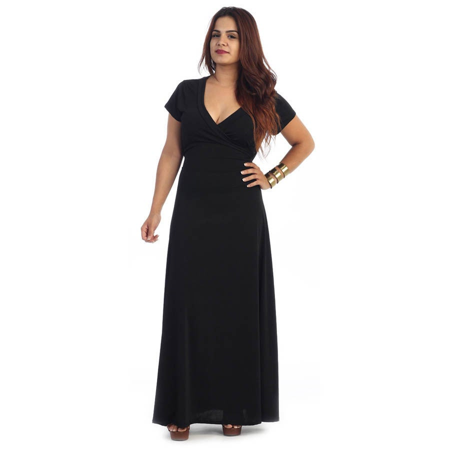 Women\'s Plus Size Short Sleeve Maxi Dress