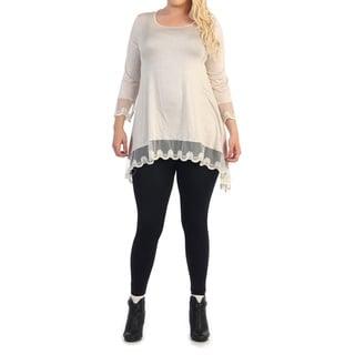 Women's Plus Size Lace Trim Top