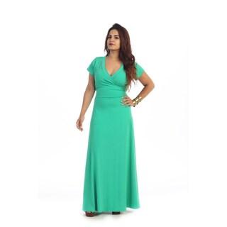 Women's Plus Size Short Sleeve Faux Wrap Maxi Dress