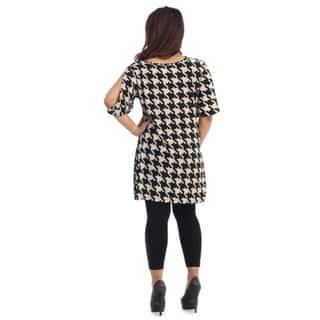 Shop Women\'s Plus Size Short Houndstooth Dress - Free ...