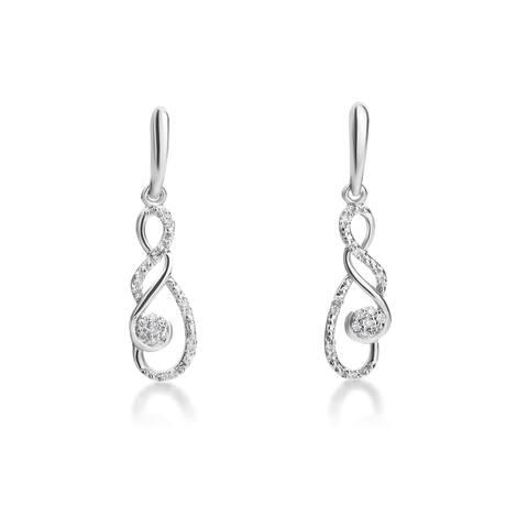 SummerRose 14k White Gold 1/6ct TDW Dangling Diamond Earrings