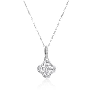 SummerRose 14k White Gold 1/4ct TDW Diamond Flower Pendant (H-I, SI1-SI2)