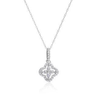 SummerRose 14k White Gold 1/4ct TDW Diamond Flower Pendant