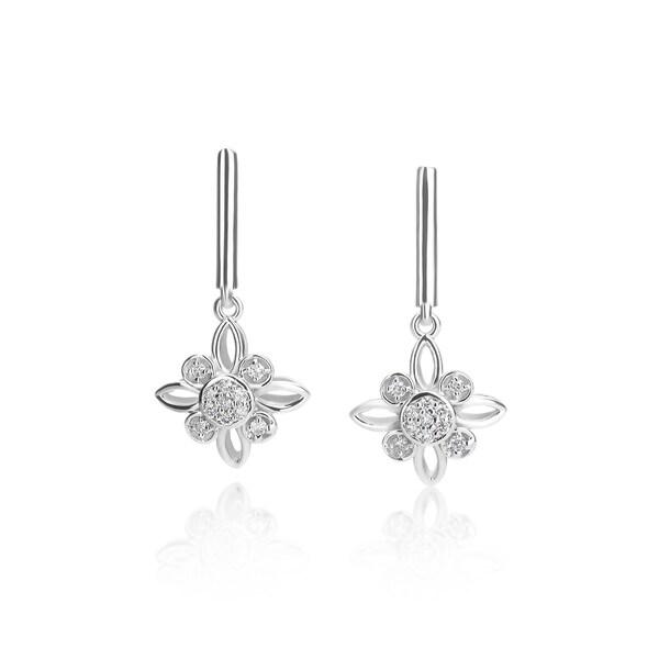 SummerRose 14k White Gold 1/5ct TDW Flower Drop Diamond Earrings