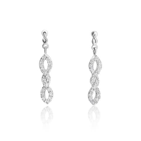 SummerRose 14k White Gold 1/3ct TDW Diamond Twisted Dangling Earrings
