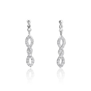 SummerRose 14k White Gold 1/3ct TDW Diamond Twisted Dangling Earrings