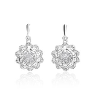 SummerRose 14k White Gold 1/4ct TDW Antique Motif Drop Earrings (H-I, SI1-SI2)