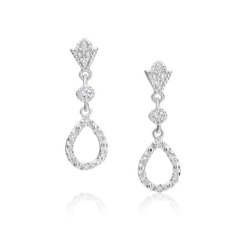 SummerRose 14k White Gold 1/5ct TDW Diamond Open Teardrop Earrings