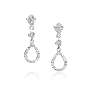 SummerRose 14k White Gold 1/5ct TDW Diamond Open Teardrop Earrings