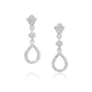SummerRose 14k White Gold 1/5ct TDW Diamond Open Teardrop Earrings (H-I, SI1-SI2)
