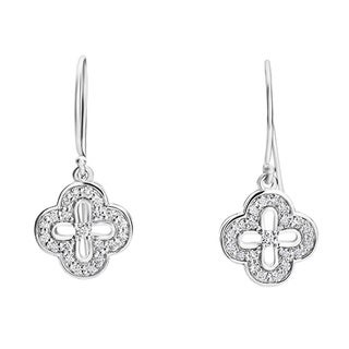 SummerRose 14k White Gold 1/3ct TDW Diamond Flower Drop Earrings (H-I, SI1-SI2)