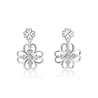SummerRose 14k White Gold Flower Motif Diamond Accent Earrings ( H-I, SI1-SI2)