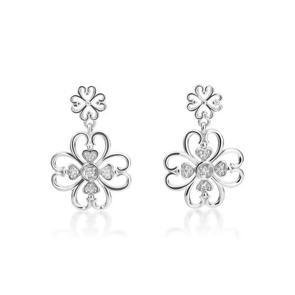 Summerrose 14k White Gold Flower Motif Diamond Accent Earrings