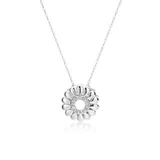 SummerRose 14k White Gold Diamond Accent Flower Burst Pendant