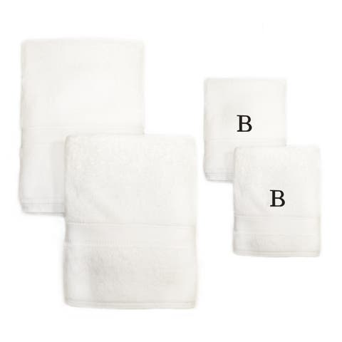 Authentic Hotel and Spa 4-piece White Turkish Cotton Towel Set with Black Monogrammed Initial Hand Towel
