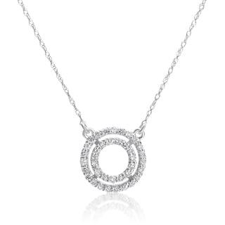 SummerRose 14k White Gold 1/3ct TDW Diamond Double Ring Pendant