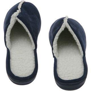 Deluxe Comfort Men's Memory Foam Suede Lamb Fleece House Slippers - Blue