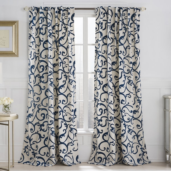 VCNY Brandy Flocked 84-Inch Back Tab Curtain Panel - Free ...