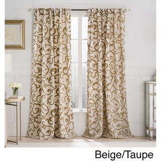 VCNY Brandy Flocked 84-Inch Back Tab Blackout Curtain Panel
