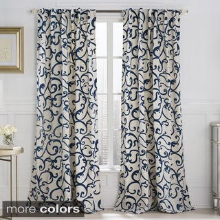 VCNY Brandy 84-inch Flocked Back-tab Curtain Panel