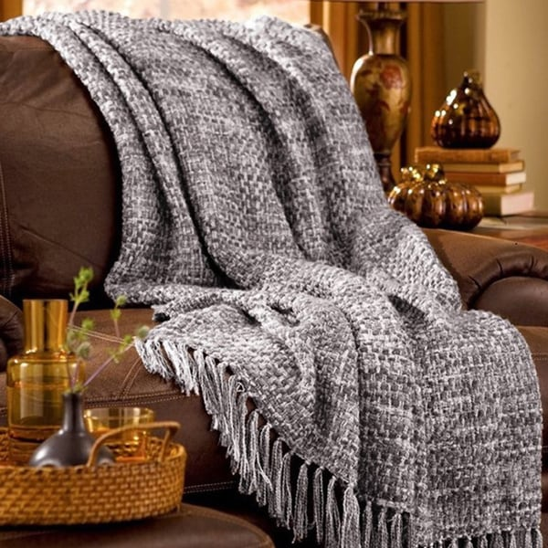 Texture Woven 50x60 Throw with Wooden Hanger