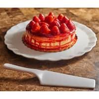 """Vanilla Fare Cake Plate w/Server 13.5"""""""