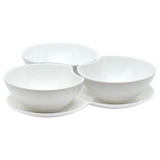 Vanilla Fare Set of 3 16-ounce Bowls with Tray