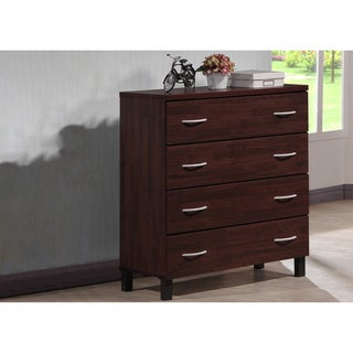 Maison Modern and Contemporary Oak Brown Finish Wood 4-Drawer Storage Chest