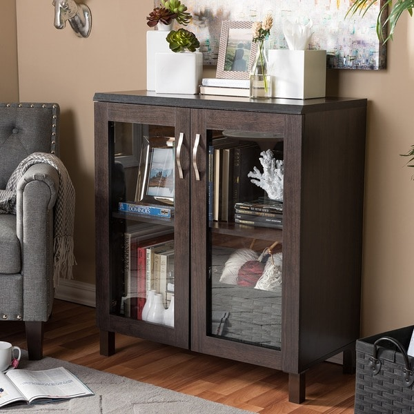 baxton studio sintra modern and dark brown sideboard storage cabinet with glass doors - Cabinet With Glass Doors