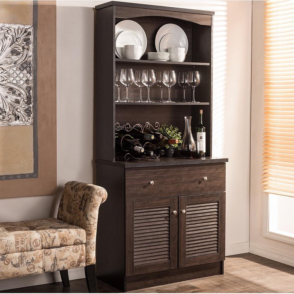 Traditional Dark Brown Wood Kitchen Storage By Baxton Studio