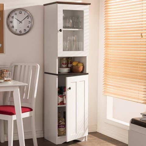 Baxton Studio Traditional White Wood Kitchen Storage
