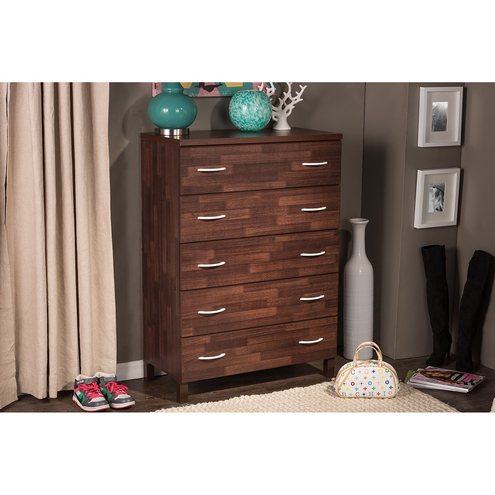 Maison Modern and Contemporary Oak Brown Finish Wood 5-Drawer Storage Chest  sc 1 st  Overstock.com & Shop Maison Modern and Contemporary Oak Brown Finish Wood 5-Drawer ...