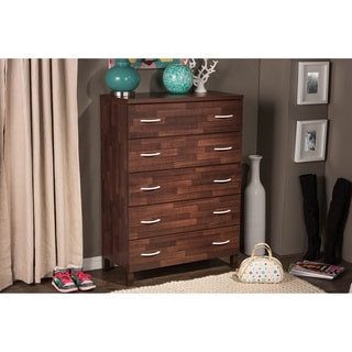 Maison Modern and Contemporary Oak Brown Finish Wood 5-Drawer Storage Chest